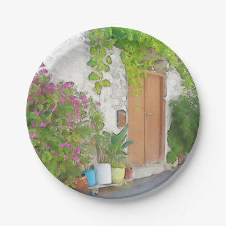 Watercolor street view 7 inch paper plate
