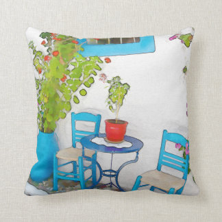 Watercolor street view cushion
