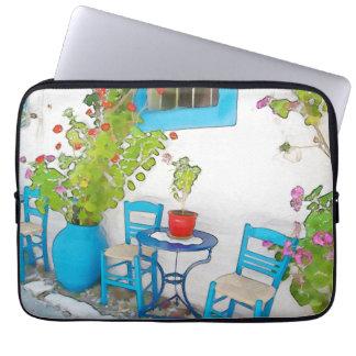 Watercolor street view laptop sleeve