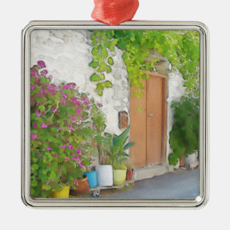 Watercolor street view metal ornament