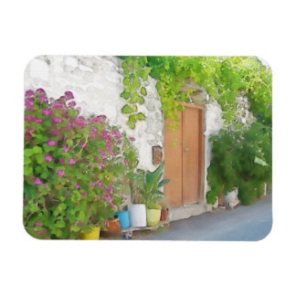 Watercolor street view rectangular photo magnet