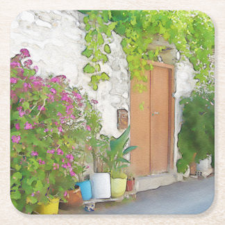 Watercolor street view square paper coaster