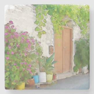 Watercolor street view stone coaster