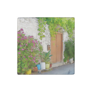 Watercolor street view stone magnet