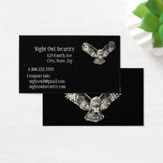 Watercolor Striking Owl Security Business Business Card
