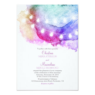 watercolor string lights romantic wedding 13 cm x 18 cm invitation card