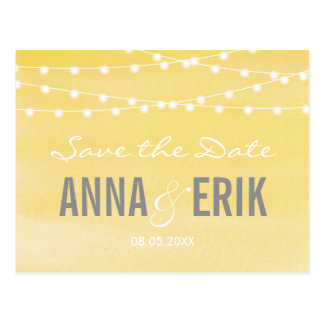Watercolor String Lights Save The Date Postcard
