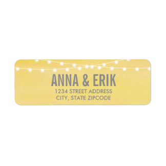 Watercolor String Lights Wedding Return Address Label