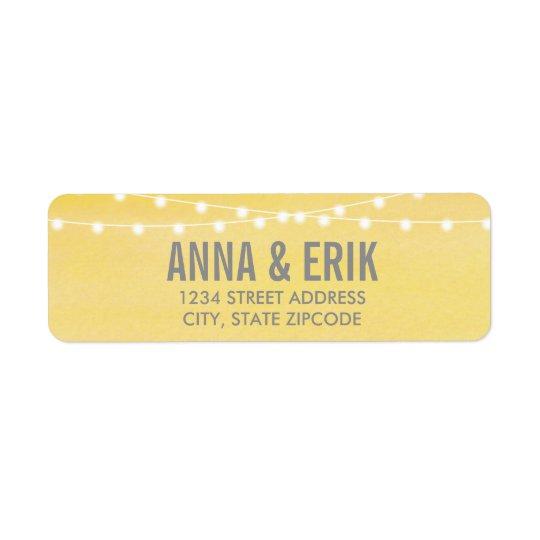 Watercolor String Lights Wedding Return Address Label