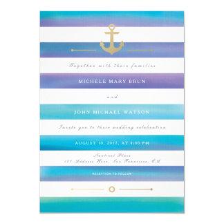 Watercolor Striped Nautical Wedding Invite
