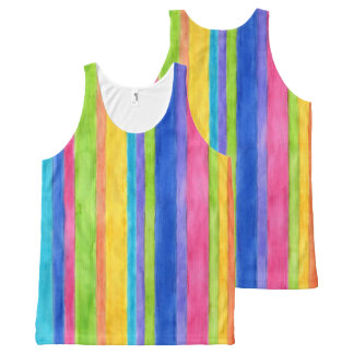 Watercolor Stripes All-Over Print Singlet