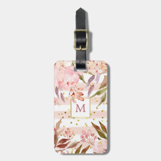 Watercolor Stripes and Floral with Gold Dots Luggage Tag