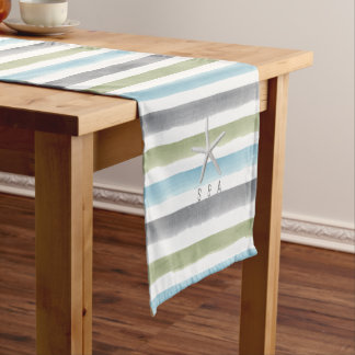 Watercolor stripes monogram rustic beach wedding short table runner