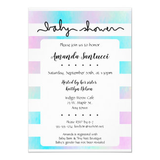 Watercolor Stripes Neutral Baby Shower Invitation
