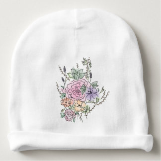 watercolor style floral design baby beanie
