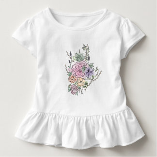 watercolor style floral design toddler T-Shirt