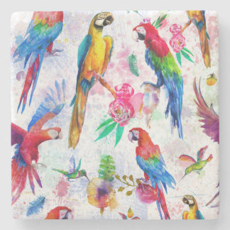 Watercolor Style Parrots 2 Stone Beverage Coaster