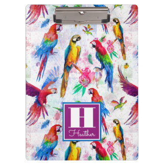 Watercolor Style Parrots | Add Your Name Clipboard