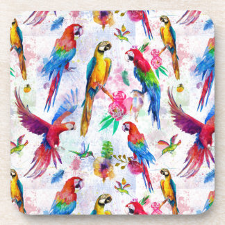Watercolor Style Parrots Beverage Coasters