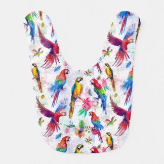 Watercolor Style Parrots Bib