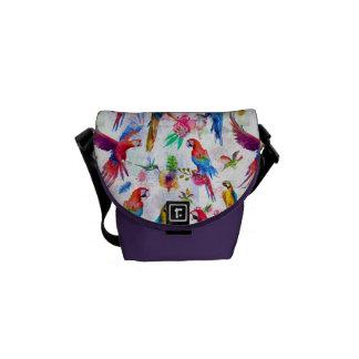 Watercolor Style Parrots Courier Bags