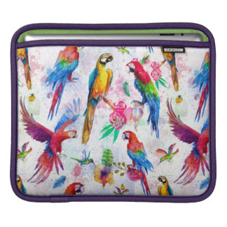 Watercolor Style Parrots Sleeves For iPads