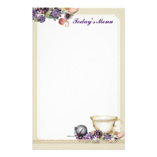 Watercolor style teacup flowers tea ball purple stationery paper