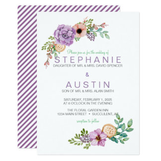 Watercolor Succulent Botanical Wedding Invitation
