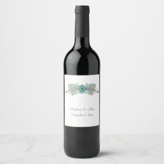 Watercolor Succulent Botanical Wedding Wine Label