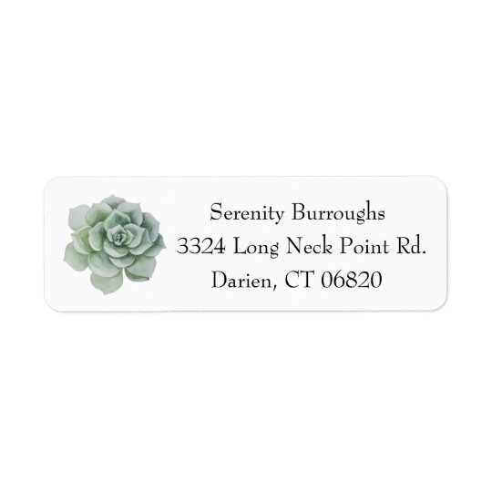 Watercolor Succulent Cactus Mint Green Return Address Label