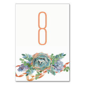 Watercolor Succulent Cluster Wedding 2 Table Cards