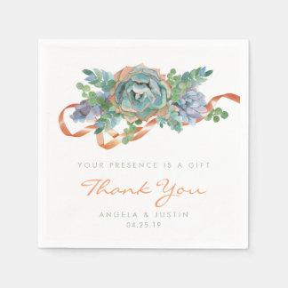 Watercolor Succulent Cluster Wedding Paper Serviettes