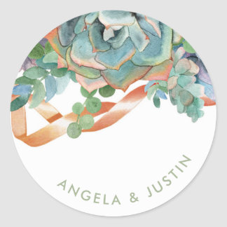 Watercolor Succulent Cluster Wedding Round Sticker