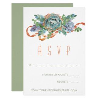 Watercolor Succulent Cluster Wedding RSVP 2 Card