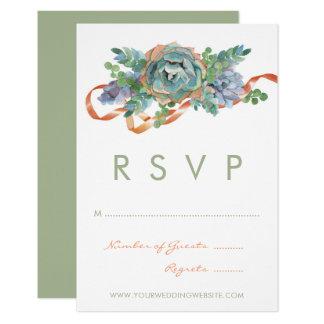 Watercolor Succulent Cluster Wedding RSVP Card