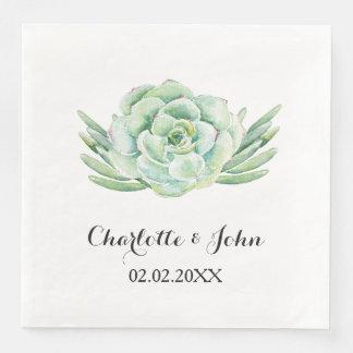 watercolor succulent floral wedding napkin paper serviettes