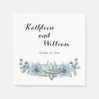 Watercolor Succulent & Flower Cocktail Napkins Paper Napkins