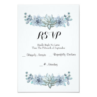 Watercolor Succulent & Flower Wedding RSVP Card