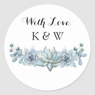 Watercolor Succulent & Flower Wedding Sticker