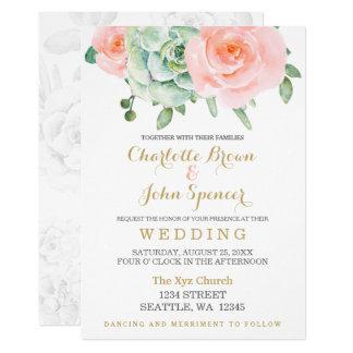 watercolor succulent peach roses wedding card