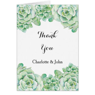 watercolor succulent wedding Thank You Greeting Card