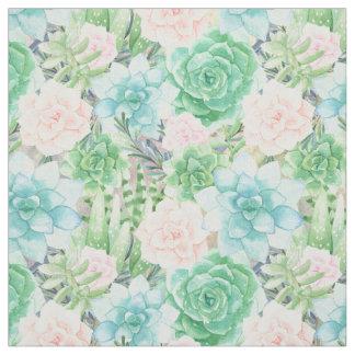 Watercolor Succulents | Aqua, Coral, Mint Green Fabric