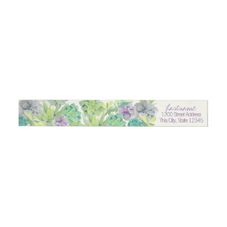 Watercolor Succulents Wedding Address Wrap Around Label
