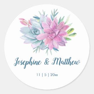 Watercolor Succulents Wedding Classic Round Sticker