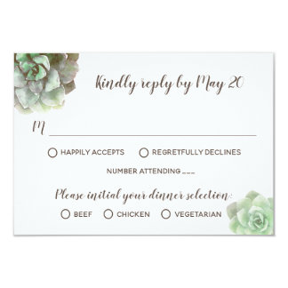 Watercolor Succulents Wedding Invitation RSVP Card