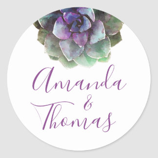Watercolor Succulents | Wedding Label | Seal