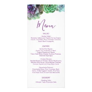 Watercolor Succulents | Wedding Menu