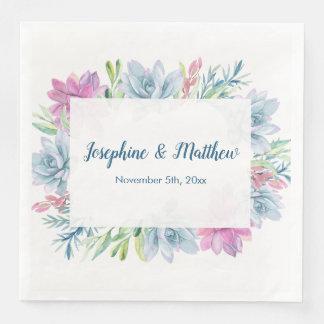 Watercolor Succulents Wedding Napkins Disposable Napkin