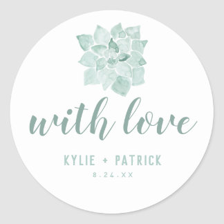 Watercolor Succulents Wedding With Love Sticker