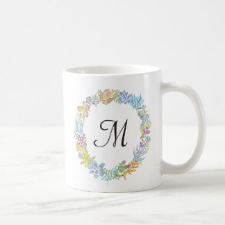 Watercolor Succulents Wreath / Monogram Mug